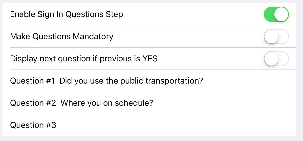 Configure the Options and Questions you want to display at SignIN step
