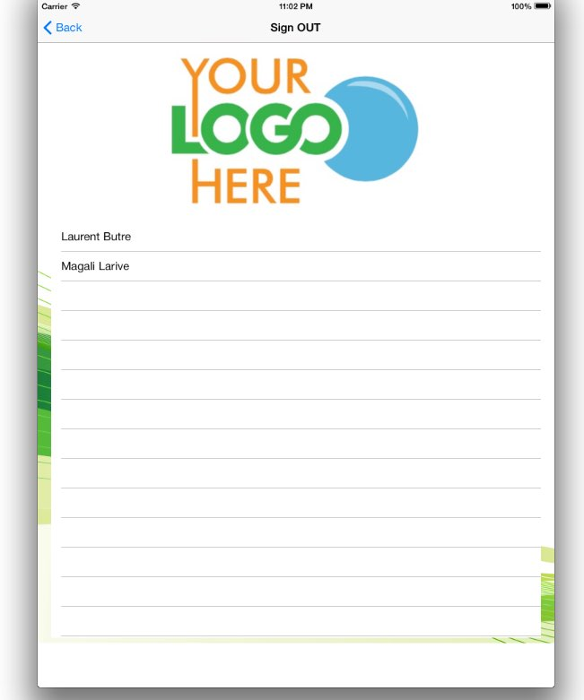 Visitor Log Book Sign out screen